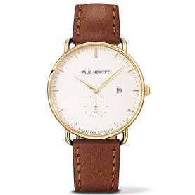 Grand Atlantic Line Gold White Sand Brown Leather - Miesten nahkaranteiset kellot - TH-TGA-G-W-1M - 1